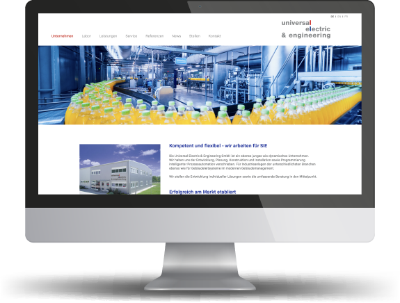 Website der Firma Universal Electric